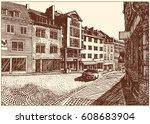European Old Street View. Blac...