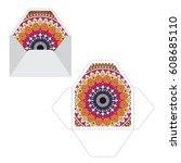 mandala pattern sleeve cutting... | Shutterstock .eps vector #608685110