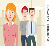sexual harassment in the... | Shutterstock .eps vector #608694344