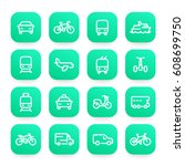 transport line icons set  ship  ... | Shutterstock .eps vector #608699750