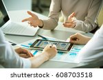 business people working with... | Shutterstock . vector #608703518
