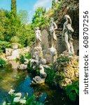 fountain neptune in trsteno...   Shutterstock . vector #608707256