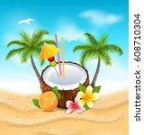 illustration exotic coconut... | Shutterstock .eps vector #608710304