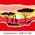 sunset in savannah. color paper ... | Shutterstock .eps vector #608711738