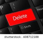 delete button on keyboard. red... | Shutterstock .eps vector #608712188