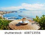 cup of fresh espresso coffee in ... | Shutterstock . vector #608713556