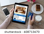woman holding credit card and... | Shutterstock . vector #608713670