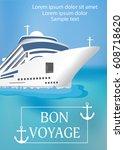 poster template cruise ship... | Shutterstock .eps vector #608718620