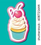 llustration of cake  logo fit... | Shutterstock .eps vector #608721644