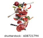 meat and beef meatballs with... | Shutterstock . vector #608721794