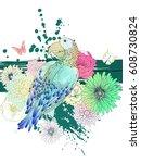 summer vector fantasy... | Shutterstock .eps vector #608730824