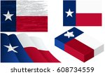 texas flags waving  grunge and... | Shutterstock .eps vector #608734559
