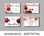 makeup artist business card.... | Shutterstock .eps vector #608734766