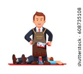 gloating killer business man... | Shutterstock .eps vector #608735108