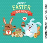 vintage easter egg poster... | Shutterstock .eps vector #608738480