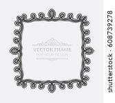 vintage vector set retro frame  ... | Shutterstock .eps vector #608739278