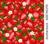 ripe juicy strawberry... | Shutterstock .eps vector #608740190