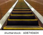 escalator in metro. moving... | Shutterstock . vector #608740604