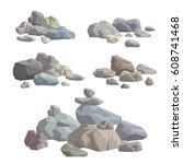 piles of stones and rocks on... | Shutterstock .eps vector #608741468