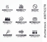 music shop logo set with... | Shutterstock .eps vector #608742278
