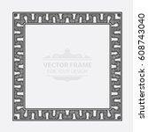 vintage vector set retro frame  ... | Shutterstock .eps vector #608743040