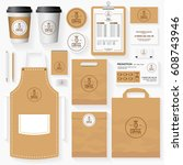 coffee shop corporate identity... | Shutterstock .eps vector #608743946