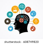 silhouette of a man's head with ... | Shutterstock .eps vector #608749820