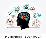 silhouette of a man's head with ... | Shutterstock .eps vector #608749829