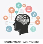 silhouette of a man's head with ... | Shutterstock .eps vector #608749880