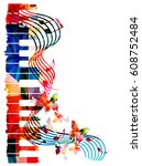 colorful piano keyboard with... | Shutterstock .eps vector #608752484