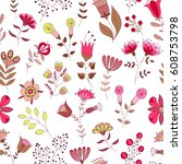 vector floral pattern. colorful ... | Shutterstock .eps vector #608753798