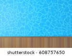 swimming pool with blue water... | Shutterstock .eps vector #608757650