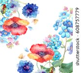 watercolor foget me not  with... | Shutterstock . vector #608757779