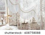 interior in boho style  bedroom ... | Shutterstock . vector #608758088