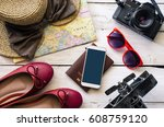 clothing and accessories for... | Shutterstock . vector #608759120