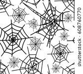 cobweb vector seamless pattern... | Shutterstock .eps vector #608760770