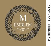 round calligraphic royal emblem....   Shutterstock .eps vector #608763350