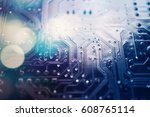 electronic circuit on... | Shutterstock . vector #608765114