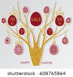 abstract cut easter tree with... | Shutterstock .eps vector #608765864