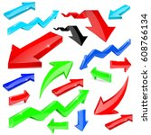 set of colored arrows. shiny... | Shutterstock . vector #608766134