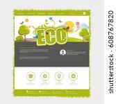 green colorful eco website... | Shutterstock .eps vector #608767820