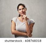 thinking woman | Shutterstock . vector #608768318