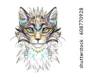 cat head vector feathers | Shutterstock .eps vector #608770928