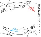 paper plane background | Shutterstock .eps vector #608773304