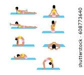 female doing back stretching...   Shutterstock .eps vector #608773640