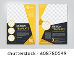 geometry yellow brochure  flyer ... | Shutterstock .eps vector #608780549