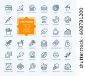 fastfood   outline web icon set ... | Shutterstock .eps vector #608781200