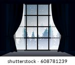 view of snowstorm and pine wood ... | Shutterstock .eps vector #608781239