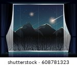 view of meteor shower over... | Shutterstock .eps vector #608781323