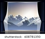 view of snow mountain in room... | Shutterstock .eps vector #608781350